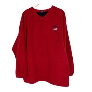 Texas USA red Fleece vneck L sweater made in America